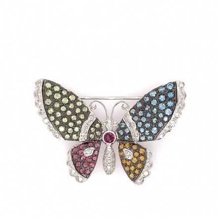 White gold K18 butterfly brooch with diamonds 0.71ct, tourmaline 0.35ct, citrine 0.27ct, topaz 0.99ct, peridot 0.98ct and garnet 0.25ct