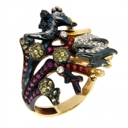 Gold ring 14kt with diamonds and semi-precious stones