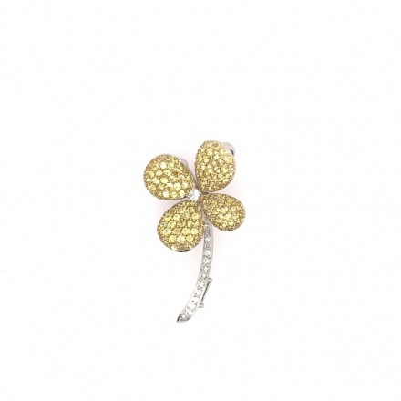 White gold K18 flower brooch with diamonds 0.19ct, tourmaline 0.35ct and yellow sapphires 2.35ct