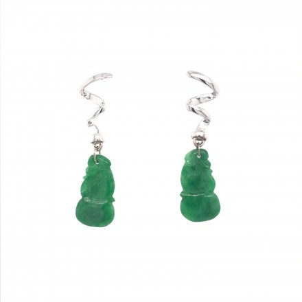 White gold K14 earrings with jade.