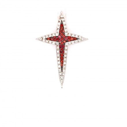 White gold K18 cross decorated with diamonds 0.13ct and rubies 0.23ct