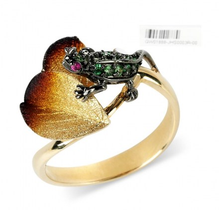 Gold K14 ring with enamel details, sapphires 0.02ct and green savolites 0.11ct.