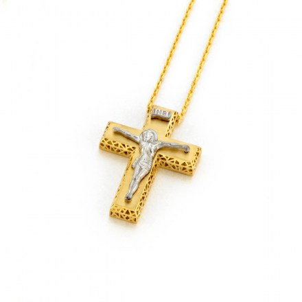 Gold K14 cross with chain