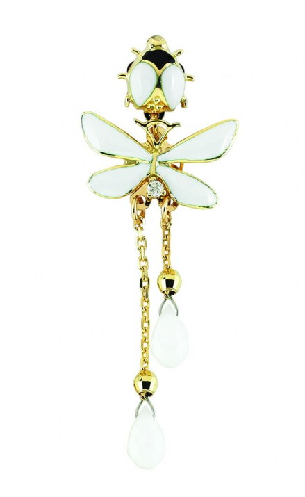 Gold K14 pendant with enamel details, diamonds 0.03ct and white agatha stones.