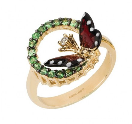 Gold K14 ring with enamel details, diamond 0.03ct and green savolites 0.11ct.
