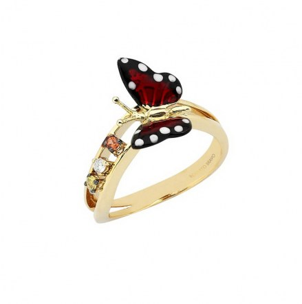 Gold K14 ring with enamel details, diamonds 0.03ct and sapphire 0.06ct.
