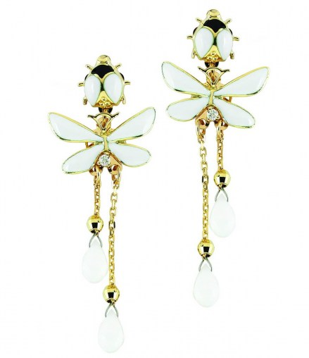 Gold K14 pair of earrings with enamel details, diamonds 0.06ct and white agatha stones.