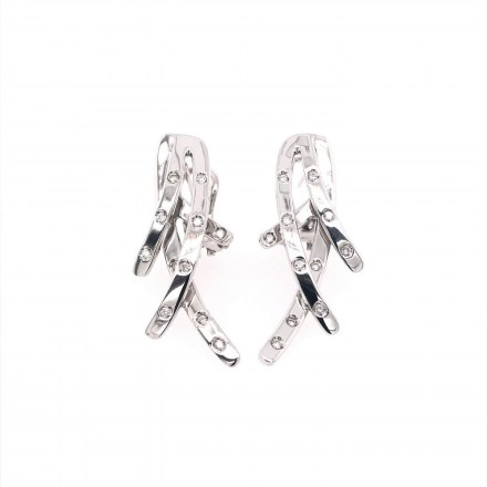 White gold K18 earrings with diamond 0.22ct.