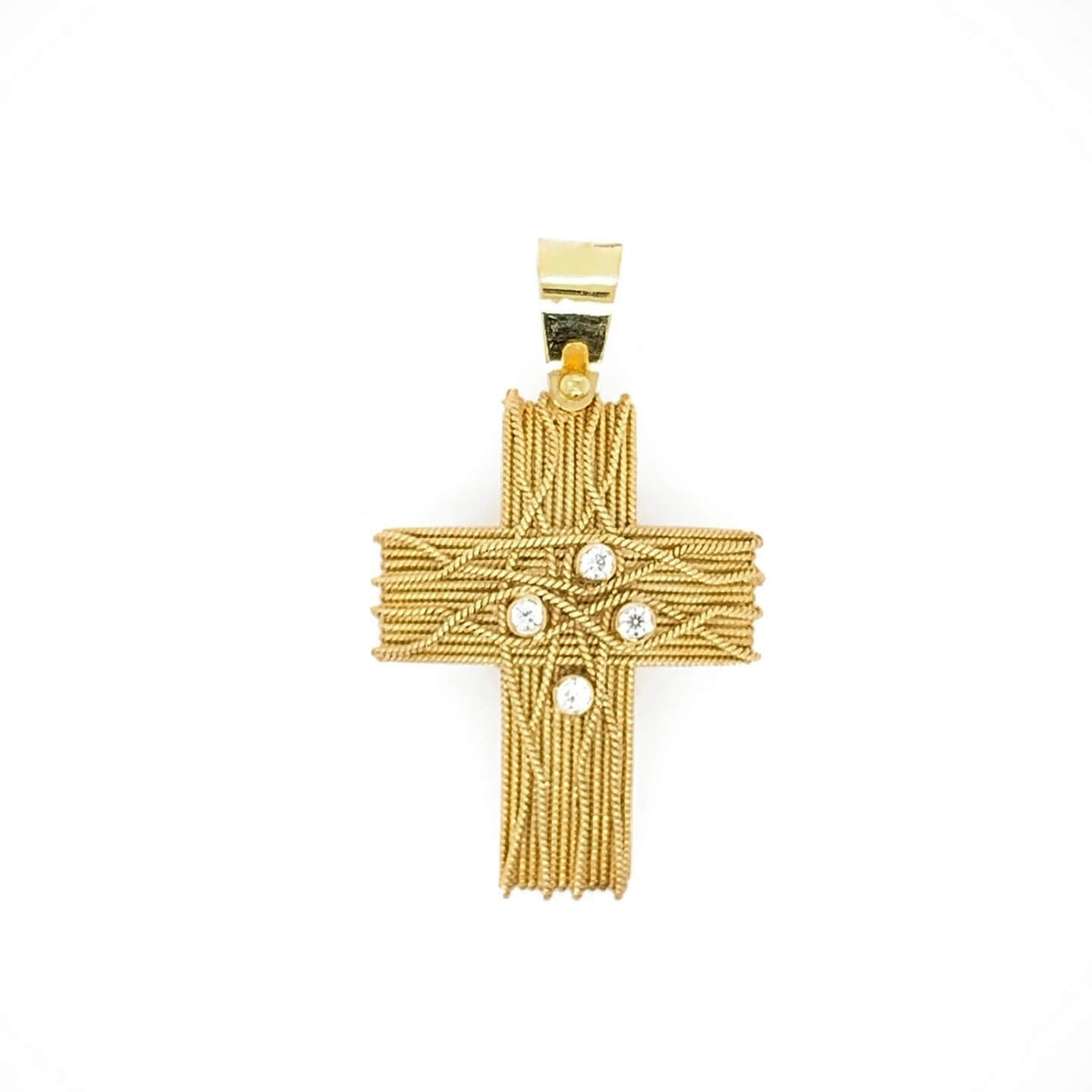 Gold K14 cross decorated with synthetic stones