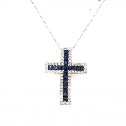 White gold K18 cross with chain decorated with diamonds 0.18ct and sapphire 1.14ct