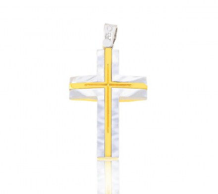 Two side gold and white gold K14 cross