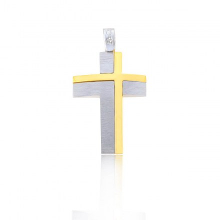 White gold K14 cross with gold details