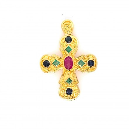 White gold K18 cross decorated with precious stones 1.40ct