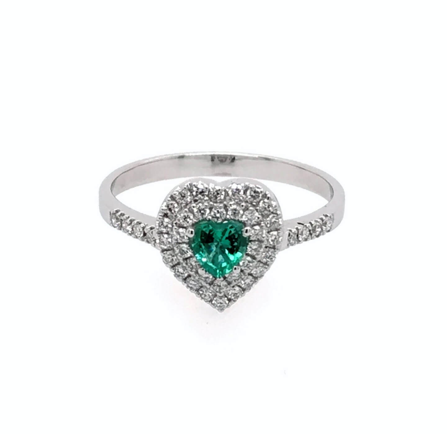 White gold K18 ring with heart shaped emerald 0.21ct and diamonds 0.29ct.