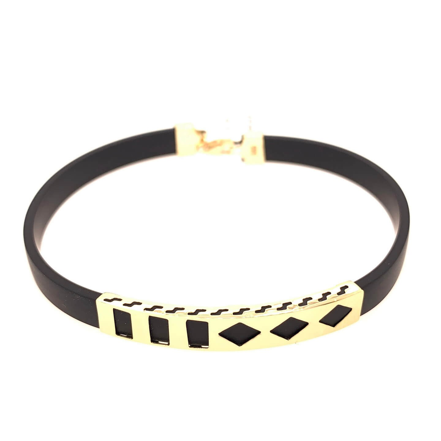 Men's rubber bracelet with K14 gold elements