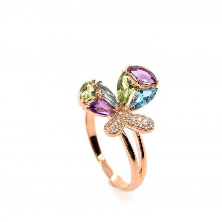 Rose gold K18 butterfly ring with diamonds 0.09ct and precious stones 1.41ct