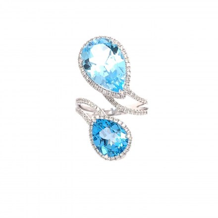 White gold K18 ring with diamonds 0.52ct and blue topaz 8.97ct