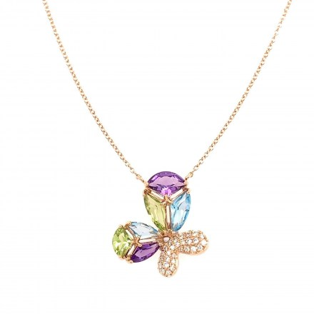 Rose gold K18 butterfly necklace with diamonds 0.09ct and precious stones 1.41ct