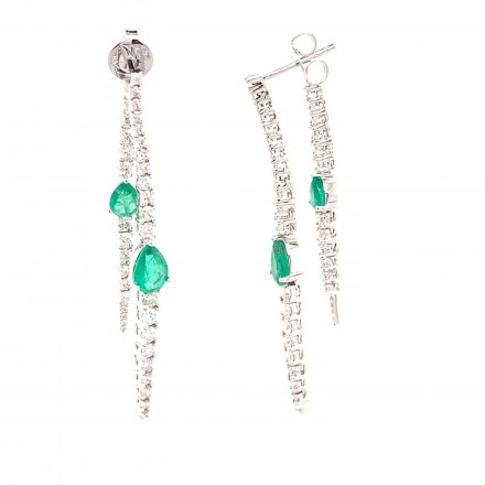 White gold K18 earrings with diamond 1.64ct and emerards 1.77ct