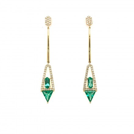 Gold K18 earrings with diamond 0.49ct and green garnet 2.10ct