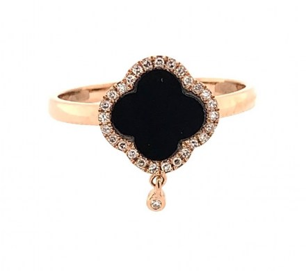Rose gold K18 ring with diamond 0.07ct and onyx 0.53ct