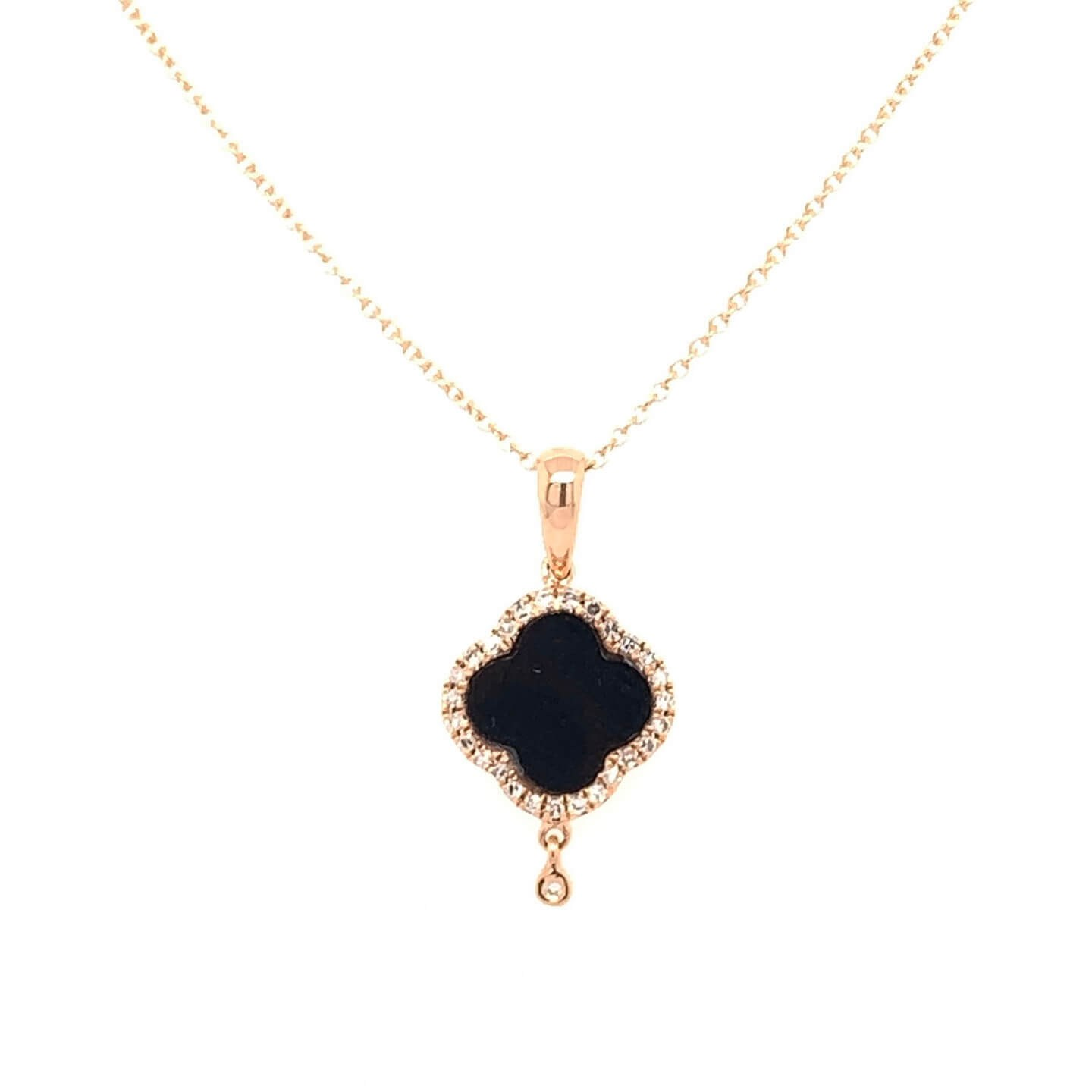Rose gold K18 pendant with diamond 0.07ct and onyx 0.54ct accompanied by chain