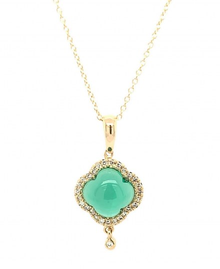 Gold K18 pendant with diamonds 0.08ct accompanied by chain