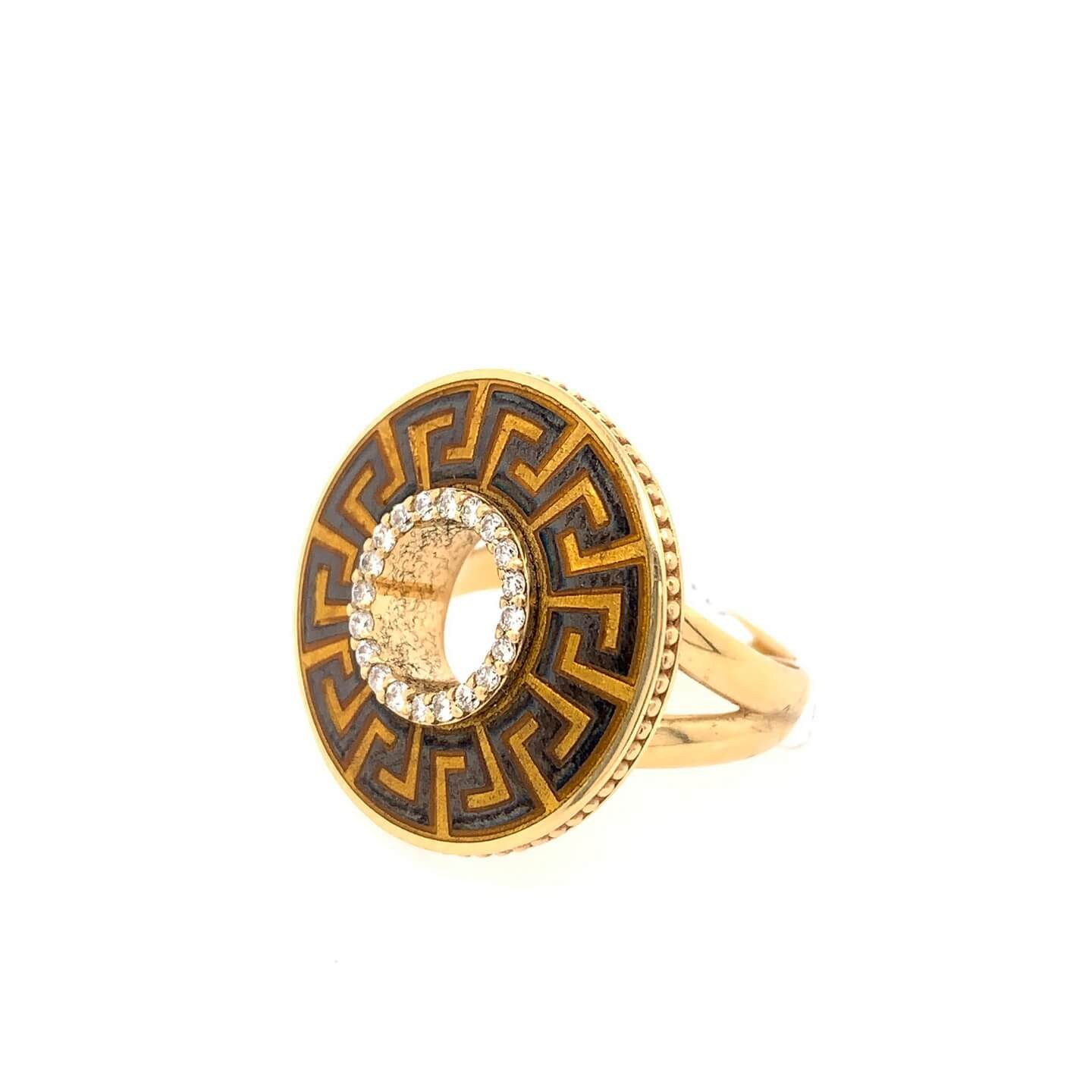 Gold K18 ring with diamonds 0.22ct and brown enamel