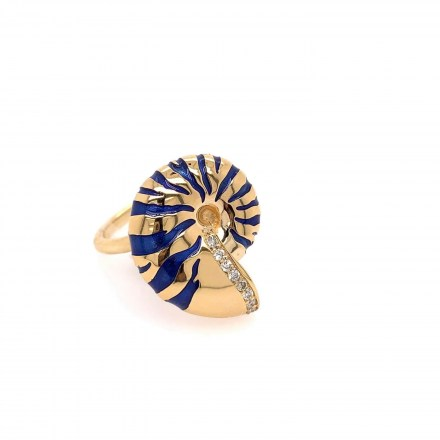 Gold K18 ring with diamonds 0.08ct and blue enamel