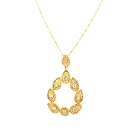 Gold K18 neclace with diamonds 0.18ct accompanied by chain