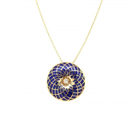 Gold K18 neclace with diamonds 0.05ct and blue enamel accompanied by chain