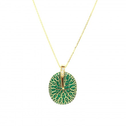 Gold K18 neclace with diamonds 0.04ct and green enamel accompanied by chain