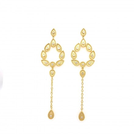 Gold K18 earrings with diamonds 0.45ct