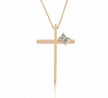 Rose gold K18 cross with chain decorated with diamonds 0.02ct