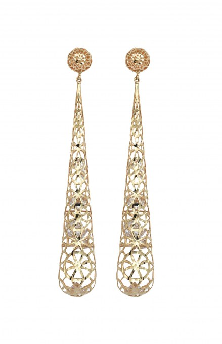 Gold 14kt mesh earrings with crystals
