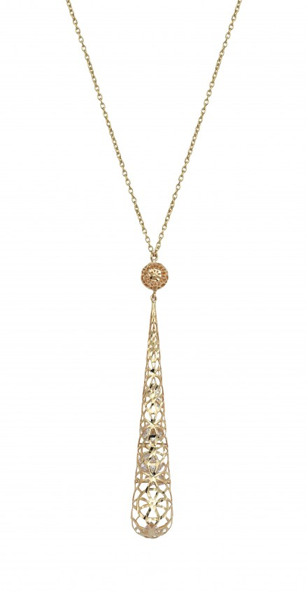 Gold 14kt mesh necklace with crystals
