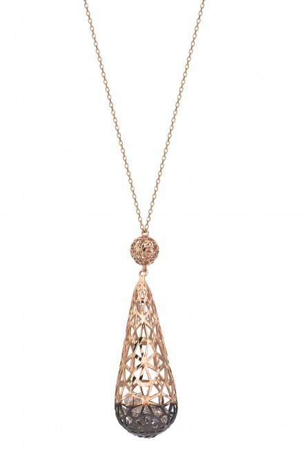Rose gold 14kt necklace with crystals