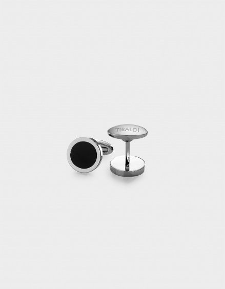 Round Button Stainless Steel Cufflinks,Onyx Inlay CF_RNDBO