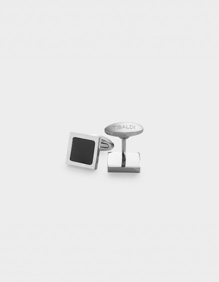 Square Stainless Steel Cufflinks, Onyx Inlay CF_SQRBO
