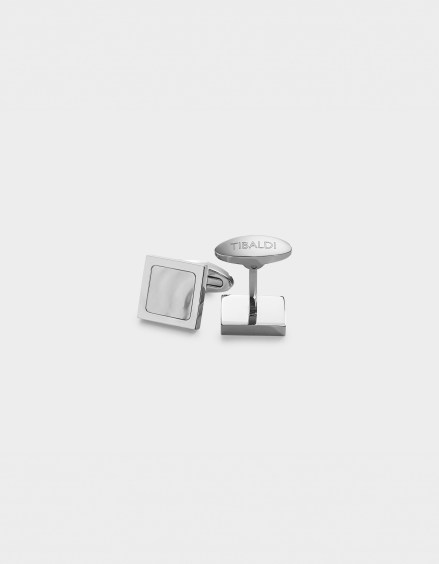 Square Stainless Steel Cufflinks, Mother of Pearl Inlay CF_SQRMOP