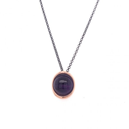 Blackened silver and rose gold amethyst pendant