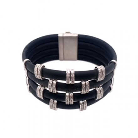 Silver bracelet with rubber bands and magnetic clasp