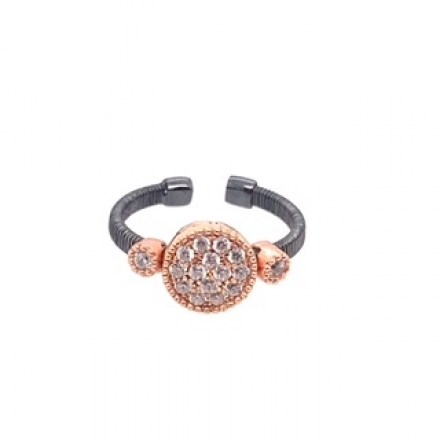 Silver ring rose gold and rhodium-plated with synthetic stones.