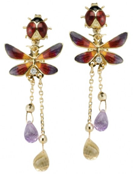 Gold 14kt earrings with single diamond, citrine and amethyst