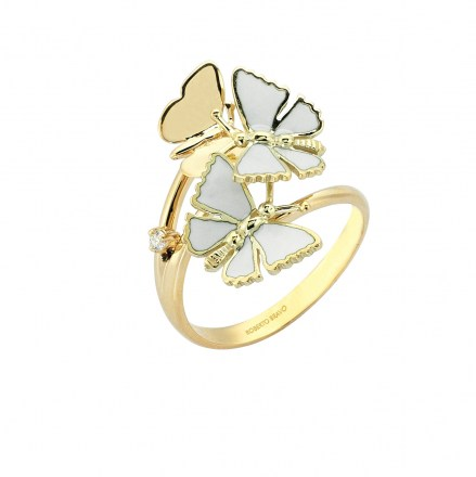 Gold 14kt ring with single diamond 0.03ct and hand enamelled