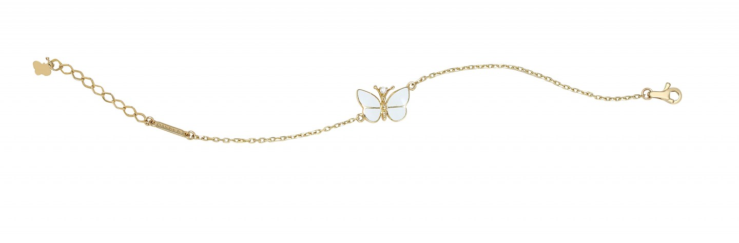 Gold 14kt bracelet with single diamond