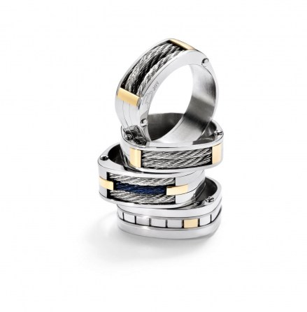 Bjoy Steel and Gold Ring by Salvatore Bersani