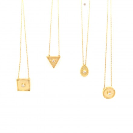 Collection of gold K18 geometrical pendant with diamonds 0.04ct accompanied by chain