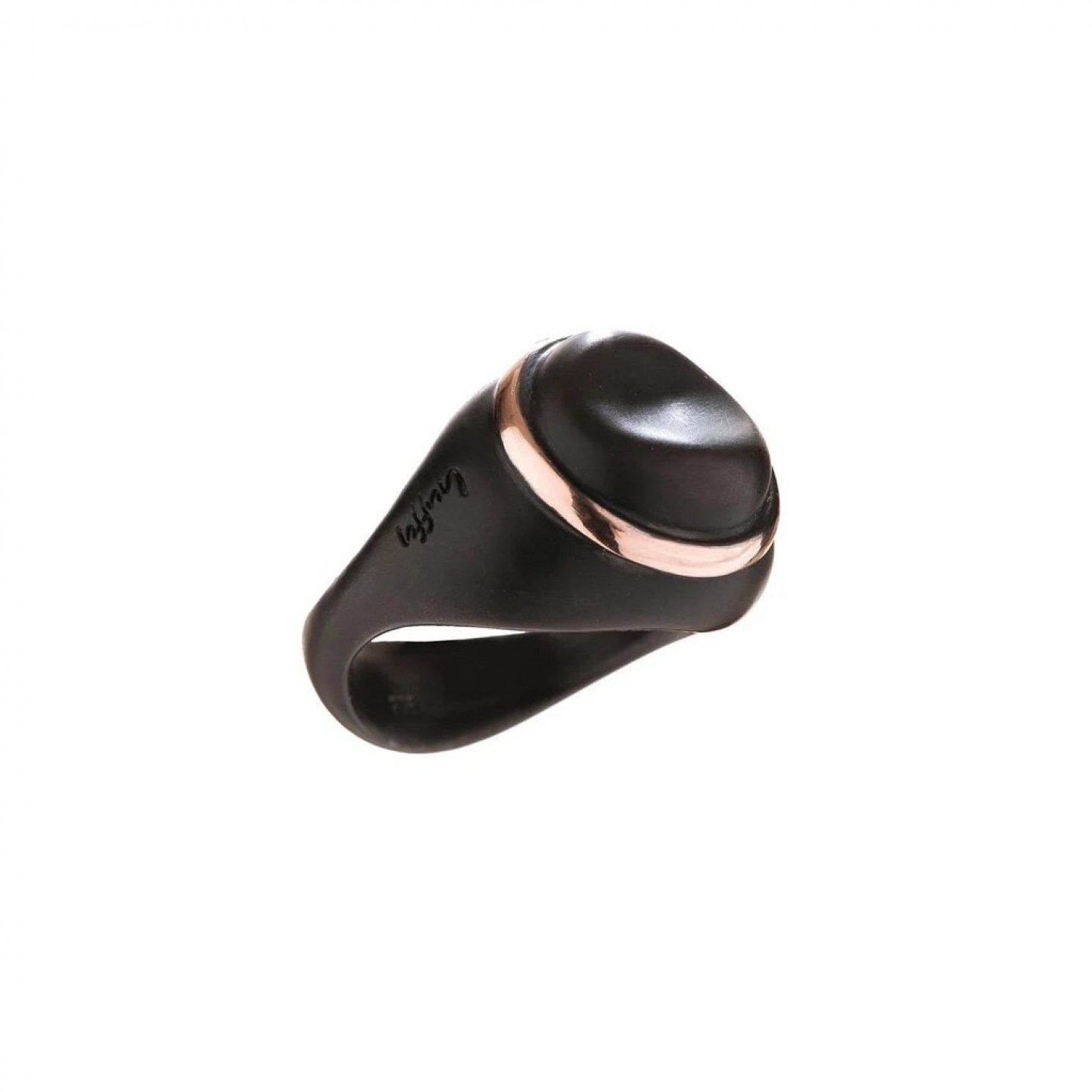 Ring in 925° black plated silver and 9K rose gold.