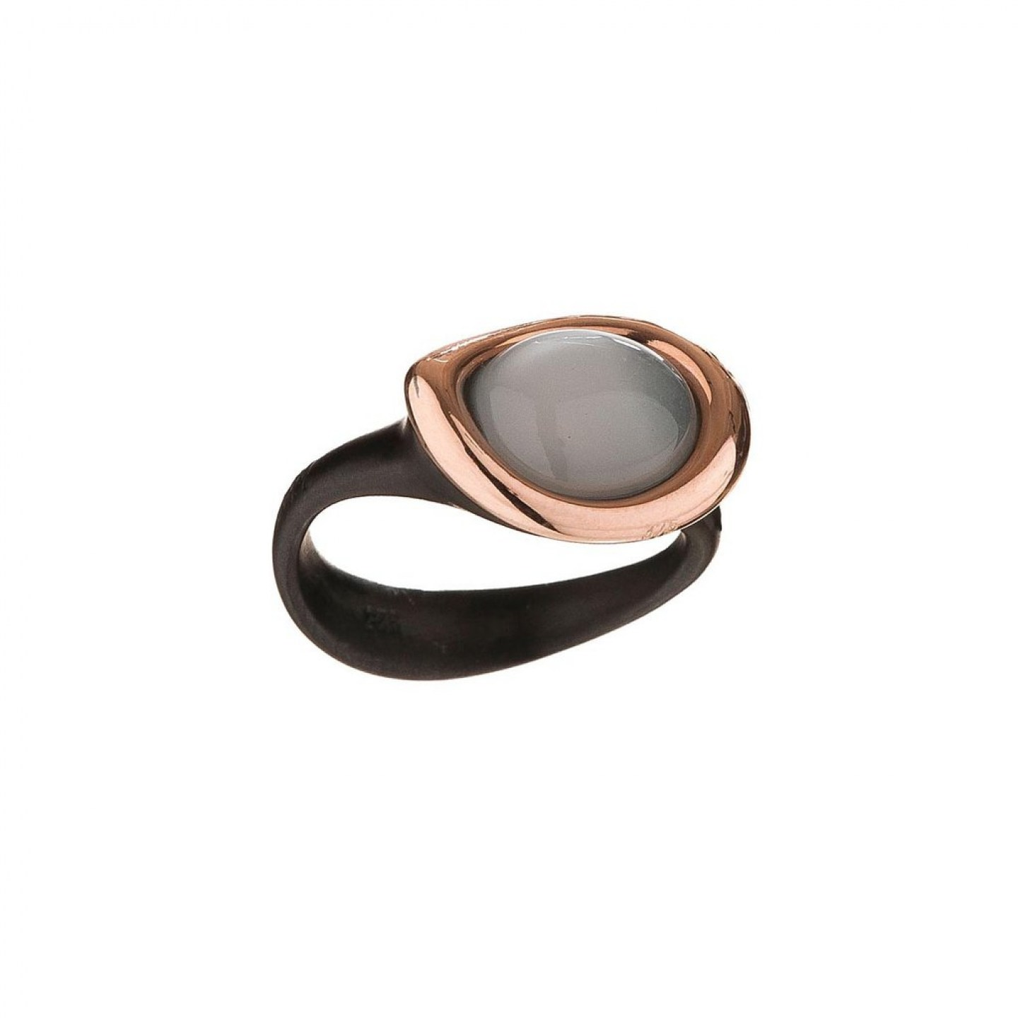 Ring in black plated silver, 9K rose gold and oval moonstone